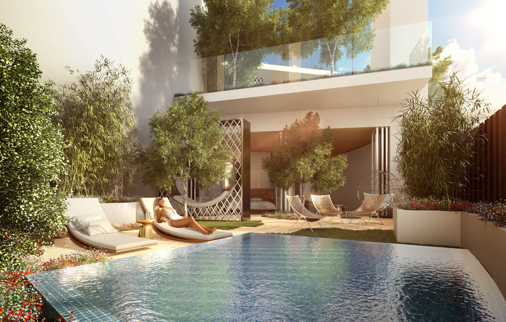 FIVE Jumeirah Village Dubai terrace
