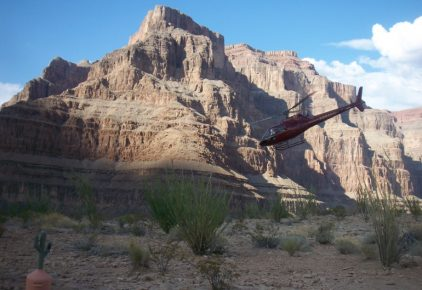 Helicopter taking off in Grand Canyon