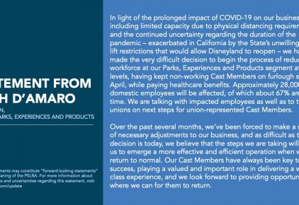 A statement from Josh D'Amaro, Chairman, Disney Parks, Experiences and Products: