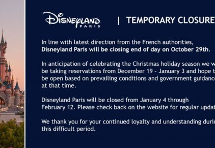 Temporary closure of Disneyland Paris