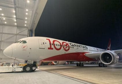 centenary livery unveiled on newest qantas dreamliner