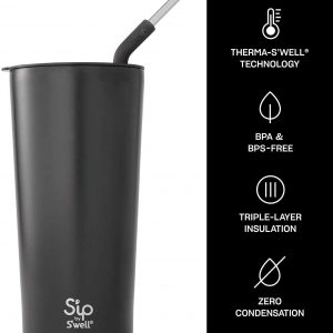 S'ip by S'well Stainless Steel Takeaway Tumbler - 24 Oz - Double-Layered Vacuum-Insulated Travel Mug Keeps Drinks Cold for 16 Hours and Hot for 4 - BPA-Free Water Bottle
